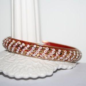 Vintage red gold and white bangle bracelet